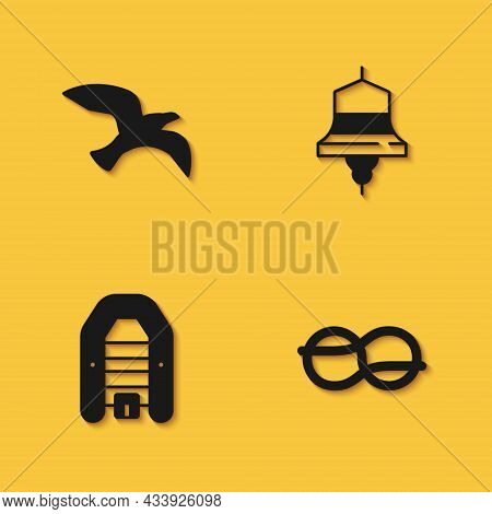 Set Bird Seagull, Nautical Rope Knots, Inflatable Boat With Motor And Ship Bell Icon With Long Shado