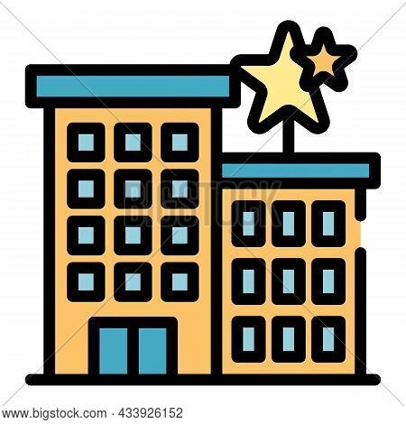 Building Advertising Company Icon. Outline Building Advertising Company Vector Icon Color Flat Isola