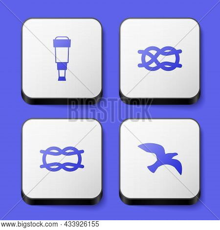 Set Spyglass Telescope Lens, Nautical Rope Knots, And Bird Seagull Icon. White Square Button. Vector