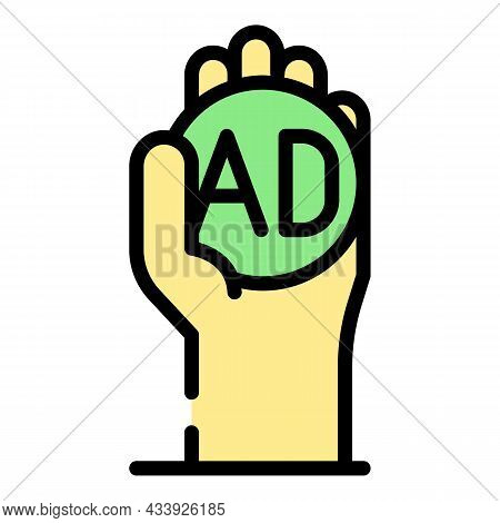 Advertising Order Icon. Outline Advertising Order Vector Icon Color Flat Isolated
