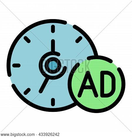 Advertising Time Icon. Outline Advertising Time Vector Icon Color Flat Isolated