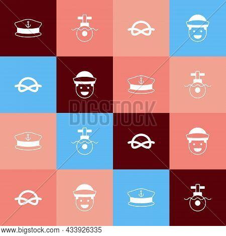 Set Pop Art Captain Hat, Submarine, Nautical Rope Knots And Sailor Icon. Vector