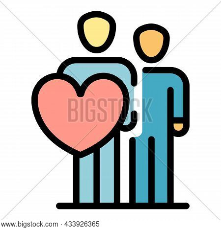 Two People And A Heart Icon. Outline Two People And A Heart Vector Icon Color Flat Isolated