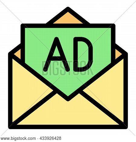 Open Envelope Advertising Icon. Outline Open Envelope Advertising Vector Icon Color Flat Isolated