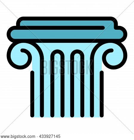 Ancient Greek Column Icon. Outline Ancient Greek Column Vector Icon Color Flat Isolated