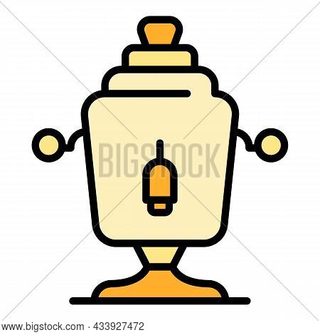 Copper Samovar Icon. Outline Copper Samovar Vector Icon Color Flat Isolated