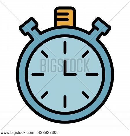 Analog Stopwatch Icon. Outline Nalog Stopwatch Vector Icon Color Flat Isolated