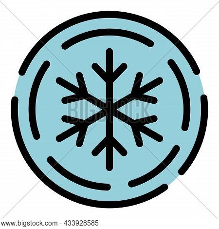 Snowflake In A Circle Icon. Outline Snowflake In A Circle Vector Icon Color Flat Isolated