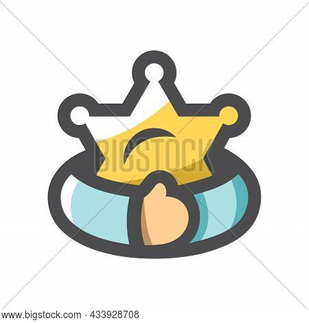 Greed For Authority Hands With Sheriff Star Vector Icon Cartoon Illustration