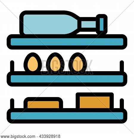 Refrigerator Shelves Icon. Outline Refrigerator Shelves Vector Icon Color Flat Isolated
