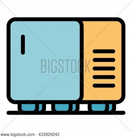 Hotel Mini Fridge Icon. Outline Hotel Mini Fridge Vector Icon Color Flat Isolated
