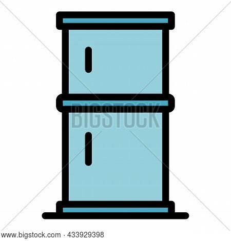 Two Chamber Refrigerator Icon. Outline Two Chamber Refrigerator Vector Icon Color Flat Isolated