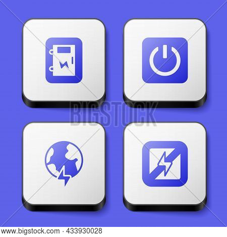 Set Electrical Panel, Power Button, Global Planet With Thunderbolt And No Lightning Icon. White Squa