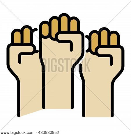 Protest Fists Icon. Outline Protest Fists Vector Icon Color Flat Isolated