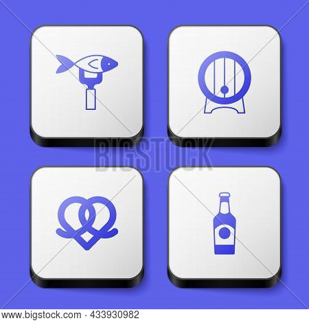 Set Dried Fish, Wooden Barrel On Rack, Pretzel And Beer Bottle Icon. White Square Button. Vector