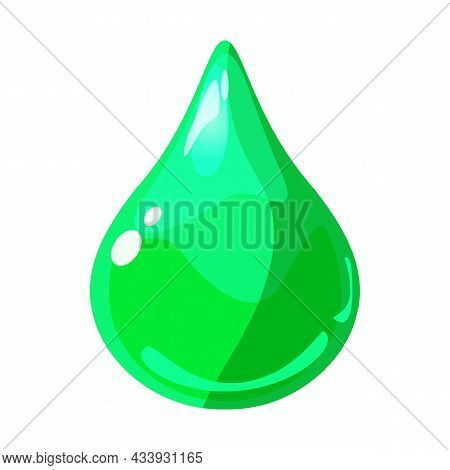 Drop Green Shiny Glossy Colorful Game Asset. Aqua, Jelly, Crystal, Glass Drip, Bubble Shot Elements.