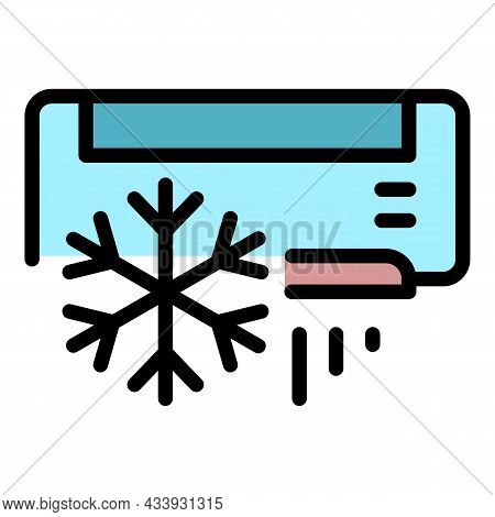 Air Conditioning Snowflake Icon. Outline Air Conditioning Snowflake Vector Icon Color Flat Isolated