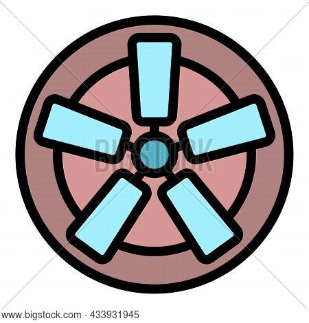 Fan With Rectangular Blades Icon. Outline Fan With Rectangular Blades Vector Icon Color Flat Isolate