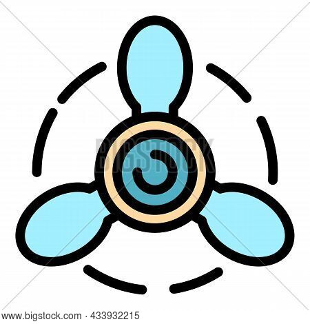 Airplane Propeller Front View Icon. Outline Airplane Propeller Front View Vector Icon Color Flat Iso
