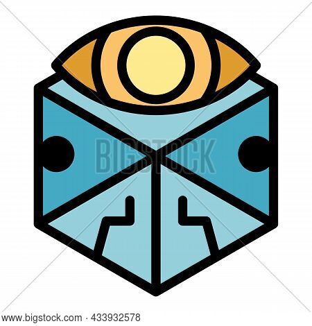 Cube Eye Alchemy Icon. Outline Cube Eye Alchemy Vector Icon Color Flat Isolated