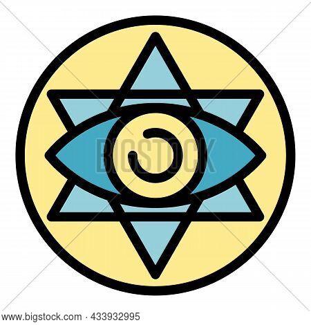 Eye Alchemy Emblem Icon. Outline Eye Alchemy Emblem Vector Icon Color Flat Isolated