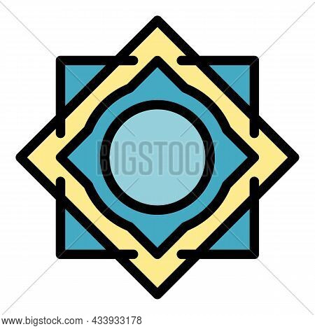 Square Circle Alchemy Icon. Outline Square Circle Alchemy Vector Icon Color Flat Isolated