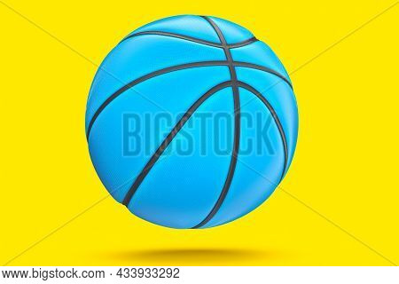 Blue Basketball Ball Isolated On Yellow Background