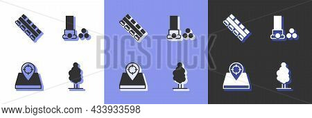 Set Tree, Hunting Cartridge Belt, Place And Cartridges Icon. Vector