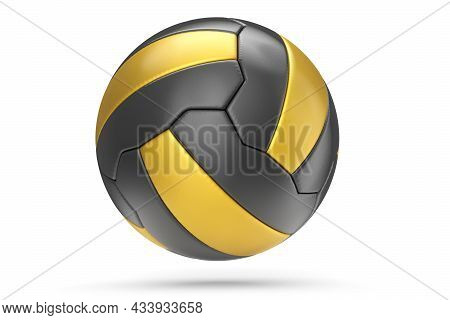 Black And Gold Soccer Or Football Ball Isolated On White Background