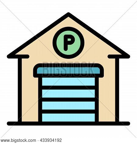 Garage Parking Icon. Outline Garage Parking Vector Icon Color Flat Isolated