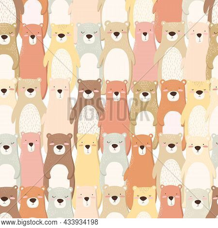 Vector Seamless Pattern With Colorful Hand Drawn Cute Bears Isolated On White Background. Cute Anima
