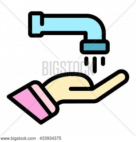 Water Tap Hand Icon. Outline Water Tap Hand Vector Icon Color Flat Isolated