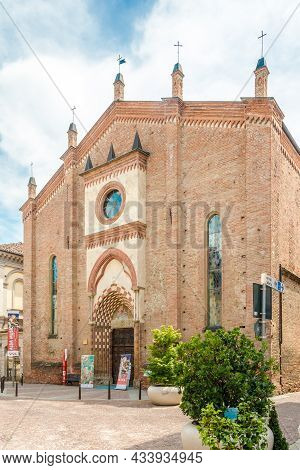 Alba, Italy - June 27,2021 - View At The Church Of San Domenico In The Streets Of Alba. Alba Is A To