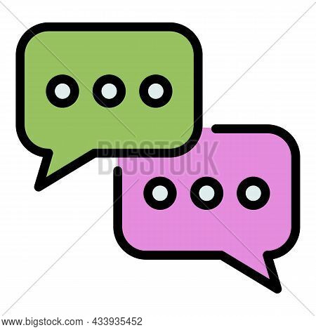 Talk Chat Icon. Outline Talk Chat Vector Icon Color Flat Isolated