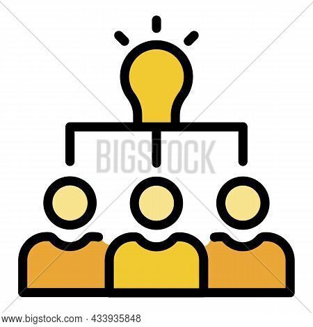 Teamwork Idea Icon. Outline Teamwork Idea Vector Icon Color Flat Isolated