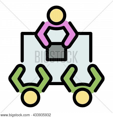 It Teamwork Meeting Icon. Outline It Teamwork Meeting Vector Icon Color Flat Isolated