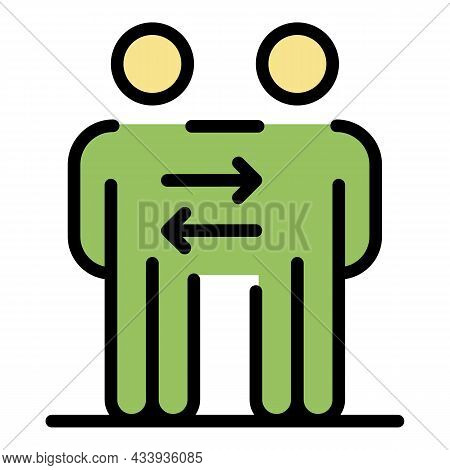 Business Cooperation Icon. Outline Business Cooperation Vector Icon Color Flat Isolated