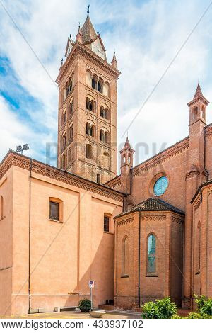 View At The Cathedral Of San Lorenzo In The Streets Of Alba In Italy