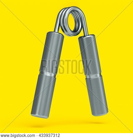 Iron Hand Expander Or Resistance Band Isolated On Yellow Background.