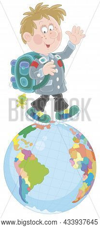 Cheerful Schoolboy With His Satchel Waving His Hand In Greeting And Walking On A Spinning Globe, Vec
