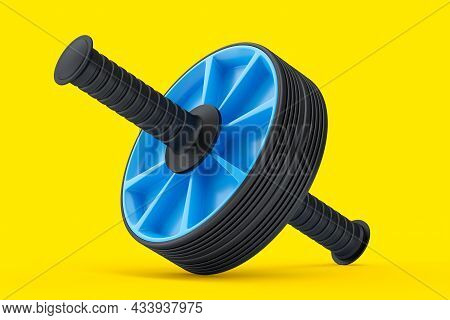 Ab Roller For Abdominal Muscles Isolated On Yellow Background.