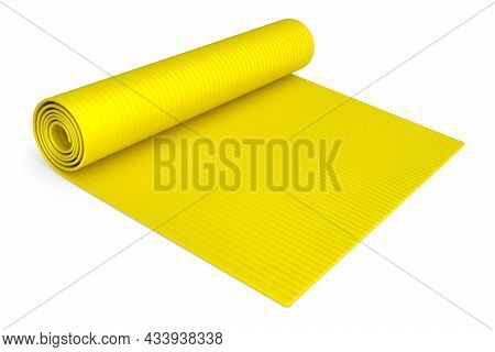 Yellow Yoga Mat Or Lightweight Foam Camping Bed Roll Pad Isolated On White.