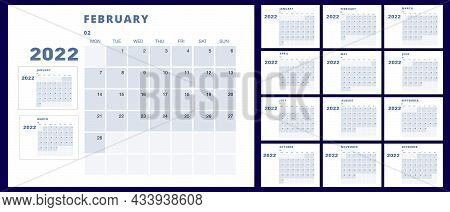 Calendar Template For 2022. All Months From January To December. For Use In Design
