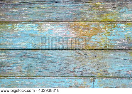 Horizontal Wooden Planks Background With Teal Blue And Yellow Colored Old Weathered Planks With Chip