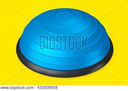 Blue Half Fitball Or Fitness Ball For Yoga Exercise Isolated Yellow Background