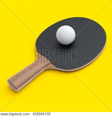 Black Ping Pong Racket For Table Tennis With Ball Isolated On Yellow Background