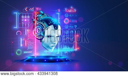 Ai. Artificial Intelligence. Head Robot Hanging Over Podium And Look At Virtual Dashboard. Supercomp