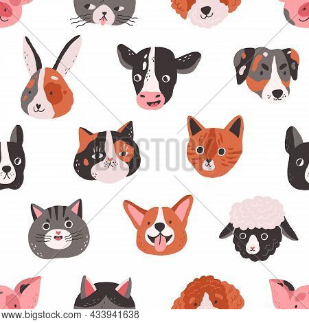 Seamless Pattern With Cute Animals Faces In Doodle Style. Endless Repeating Background With Funny He