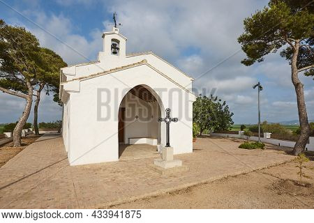 Picturesque White Chapel In Valencia, Ermita De Los Santos. Spain.