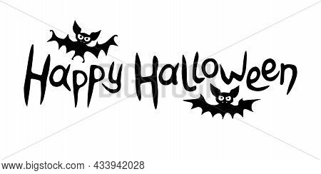 Happy Halloween-lettering With Bats. Set Of Isolated Flat Design Elements, Black Silhouette. Festive